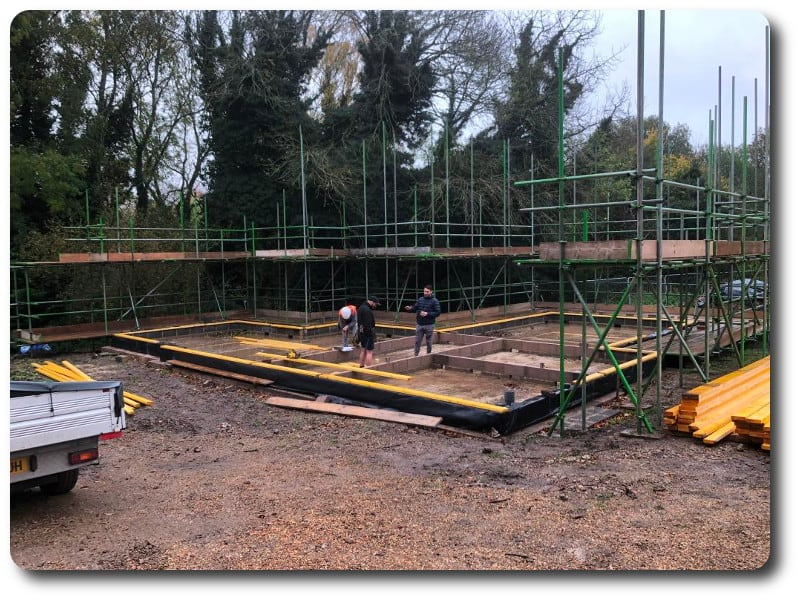 The soleplates are installed onto the foundations