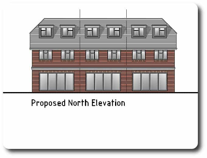 North Elevation Drawing of Timber Frame Development